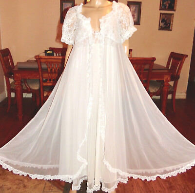 Vintage Tosca Long Dbl Chiffon Nylon Lace Nightgown & Peignoir Set, Med-Bust 36
