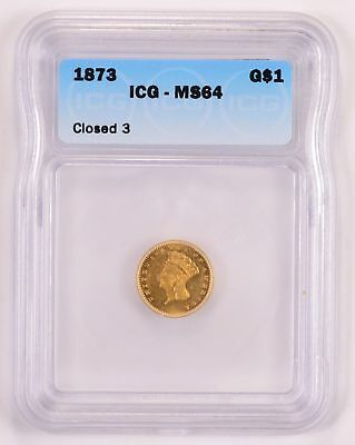 MS64 1873 Indian Princess Head Gold Dollar - ICG Graded *1780