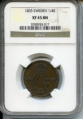Very Nice 1803 NGC XF45 BN Sweden 1/4 Skilling Copper Coin Bi758