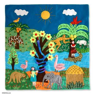 Appliqué Wall Hanging Patchwork Tapestry 'Amazon' Peruvian Art NOVICA