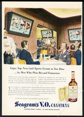 1946 future sports bar big TV set art Seagram's VO Whisky vintage print ad