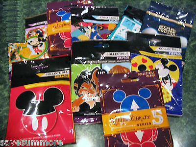 Disney Trading Pins 15 Pin Set MYSTERY PACKS Random 5 Packs LOT of 3 MY CHOICE