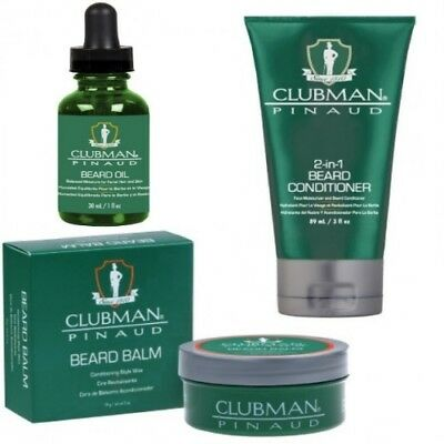 Clubman Pinaud Beard Oil Bartöl +Bart Balm und Bart Conditioner Bartpflege SET