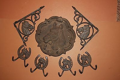 (7), Vintage-look Horse barn decor, stable, ranch. solid cast iron horse plaque