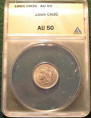 1865 Three Cent Coin - Anacs Graded Au50 - Lots Of Mint Luster On This Coin