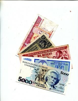 Brazil Plus 4 Other Diff Foreign Banknotes Vg Or Better 3.95