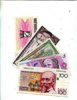 Belgium Plus 4 Other Diff Foreign Banknotes Vg Or Better 3.95