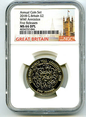 2018 Great Britain 2Pnd Ngc Ms66 Dpl World War I Wwi Armistice First Releases