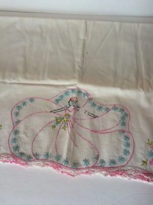 Vintage Embroidered Pillow Case White Pink Lace Trim Lady With Dress Aqua