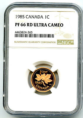 1985 Canada One Cent Ngc Pf66 Rd Ucam Proof Penny Extremely Rare Pop=1