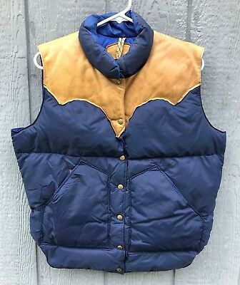 Women's Vtg 70's Rocky Mountain Featherbed Leather Yoked Down Puffer Vest Med/Lg
