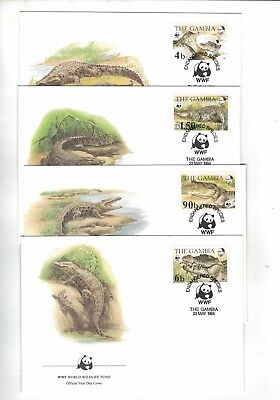 1984 Gambia WWF Endangered Species SG 544/7 set four FDC or FU