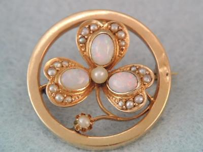 Antique Art Nouveau Solid 14K Gold Opal & Seed Pearl Clover Pin Ornate