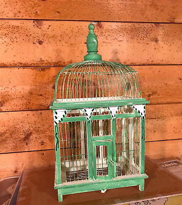 Vintage Hand-Painted Wooden Bird Cage