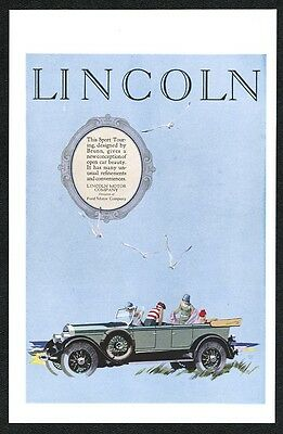 1926 Lincoln open touring car women Fred Cole color art vintage print ad