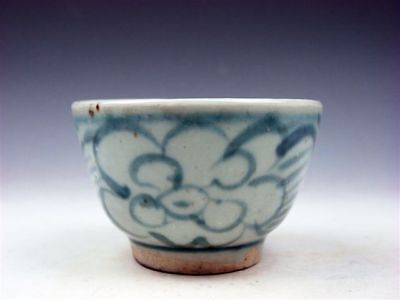 Antique Blue&White Glazed Porcelain Flower Blossoms Hand Painted Cup #03201803R