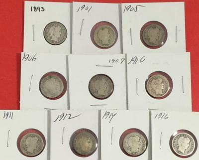 1893-1916 US Barber SILVER Dimes SEt of 10 Different Carded Coins!