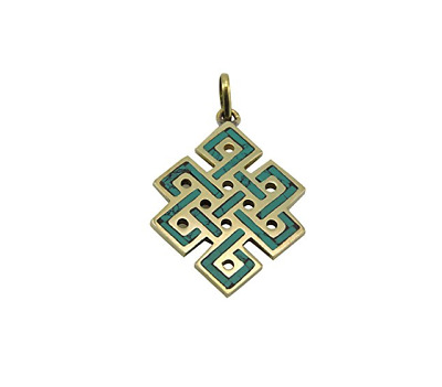 Handmade Brass and Turquoise Eternal Knot Pendant From Nepal