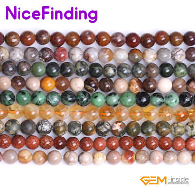 """8mm Natural Round Assorted Gemstone Loose Beads Lots For Jewelry Making 15"""" NF"""