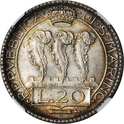 San Marino 1936-R  20 Lire Silver Coin, Gem Uncirculated, Ngc Certified Ms65