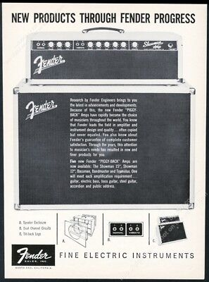 1961 Fender Showman Piggy Back amp amplifier photo vintage print ad