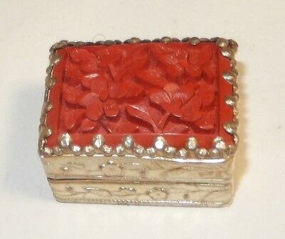 Chinese Carved Cinnabar Silver Plated Metal Makeup Mirror Jar Box