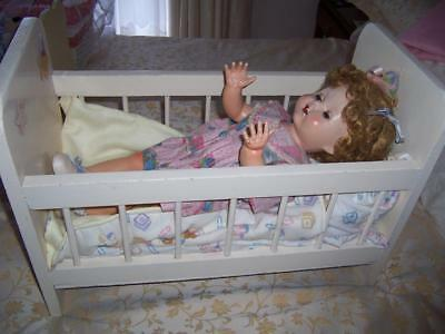 Vintage Doll Large Wooden Cream Cot Bed With Mattress Sheets Pillow