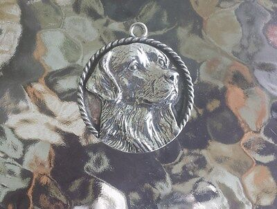 MANS BEST FRIEND 1 PUREBRED GOLDEN RETRIEVER PEWTER PENDANT or POCKET COIN NEW.