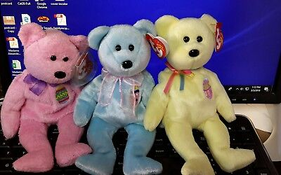 TY Beanie Baby - three Eggs Bears/  pink yellow and blue RETIRED