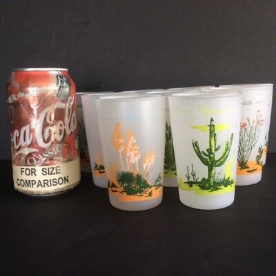 """Lot of 9 mixed Blakely Arizona Cactus 3-3/4"""" Frosted JUICE GLASSES"""