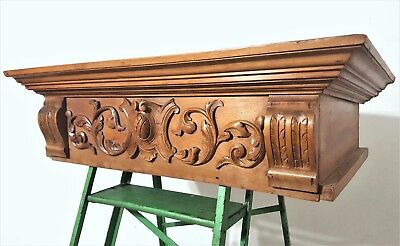 Hand Carved Wood Canopy Bed Crown Antique French Shabby Architectural Salvage