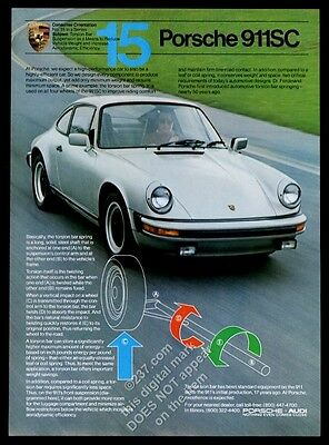 1982 Porsche 911SC 911 SC silver car photo vintage print ad