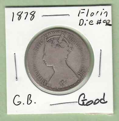 1878 Great Britain One Florin Silver Coin - Good