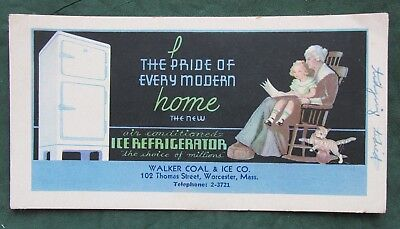 Vintage WALKER COAL & ICE Refrigerator Worcester Mass Ink Blotter