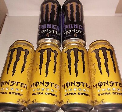 6 Cans of Monster Energy Ultra Citron and Mad Dog Punch Dub Edition Full Cans
