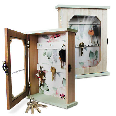 Key Cabinet Wall Mounted Car House Hooks Box Floral Wooden Case Storage  Cupboard