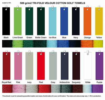 Tri Fold Velour Golf Towel. 18 Different Colours. Printing Options Available.