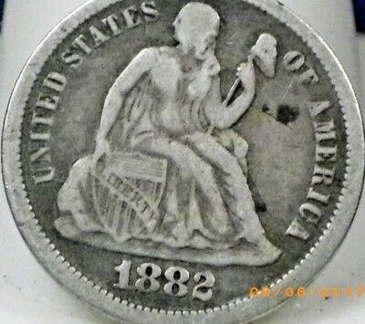 1882 SEATED LIBERTY DIME Good Detail Full Liberty Nice US Coin