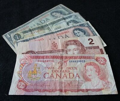 Canadian 2 & 1 Dollar Notes in Good -Very Good Condition Nice Old Note!