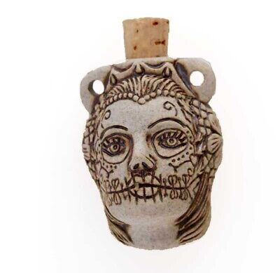 High Fired Ceramic Day of Dead Woman Bottle or Vessel