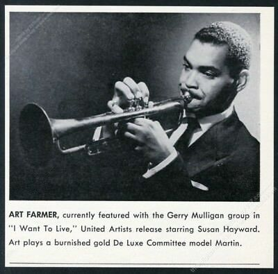 1957 Art Farmer photo Martin Committee trumpet vintage print ad