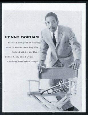 1959 Kenny Dorham photo Martin Committee trumpet vintage print ad