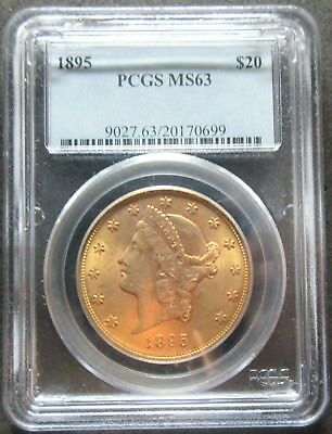 1895 $20 Liberty Double Eagle .96750 Ounce Gold Coin - Pcgs Ms 63