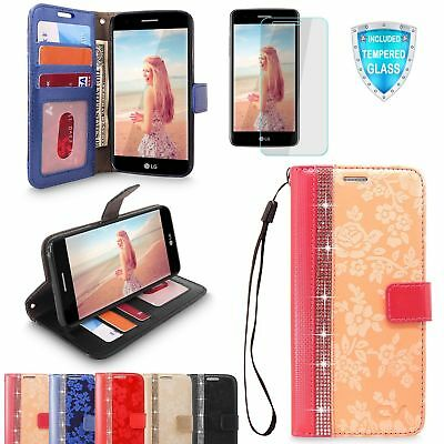 For LG K8 2017 Case Luxury Leather Card Wallet Flip Stand Cover Tempered Glass