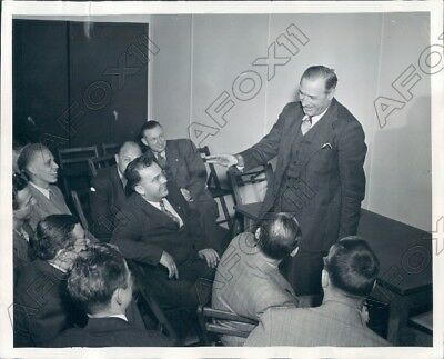 1947 Michigan Wolverines Coach Fritz Crisler Talks With Reproters Press Photo