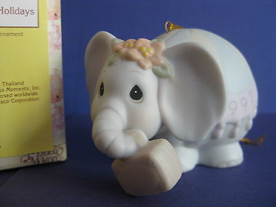 1997 Precious Moments PACK YOUR TRUNK FOR THE HOLIDAYS Ornament 272949 ELEPHANT