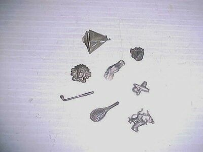 Lot 8 Vintage Metal All Different Cracker Jack Toys Prizes Charms