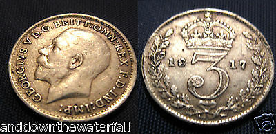 SOLID SILVER Three pence 1917 Coin Antique II Vintage English Old World War I US