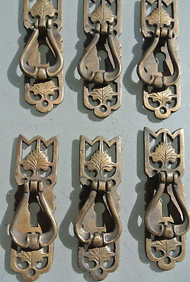 6 small old style pulls BRASS handles aged door old style drops knobs kitchen B