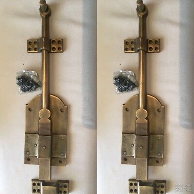 2 large Bolts french old style doors very heavy solid aged brass flush 30 cm B